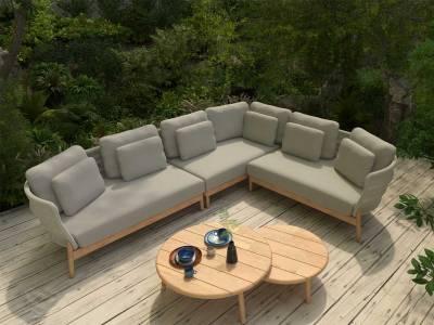 4 Seasons Outdoor Avalon Teak 2-Sitzer Armlehne rechts, inkl. 5 Kissen