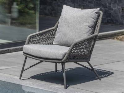 4 Seasons Outdoor Babilonia living Sessel mid grey knotted inkl. 2 Kissen