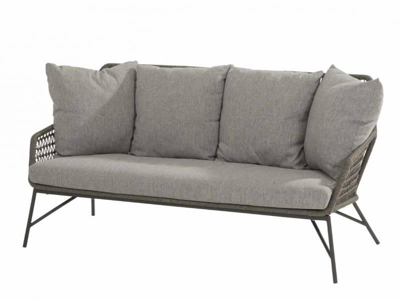 4 Seasons Outdoor Babilonia Sofa 2.5 -Sitzer mid grey knotted inkl. 5 Kissen