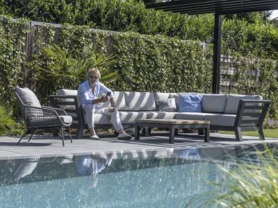 4 Seasons Outdoor Meteoro modular 2 -Sitzer Sofa R arm inkl. 4 Kissen (ohne Arm-Kissen)