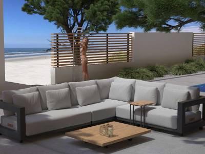 4 Seasons Outdoor Metropolitan 2.5-Sitzer Armlehne rechts, inkl. 5 Kissen