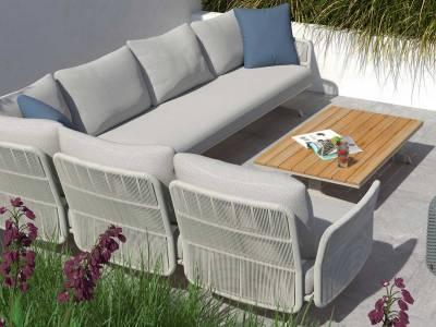 4 Seasons Outdoor Play Panel Concept Kaffee-Tisch Teak-Lattung 75 x 75 x 30 cm