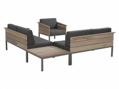 4 Seasons Outdoor Serie Cava Teak, 2-Sitzer mit Armlehne rechts