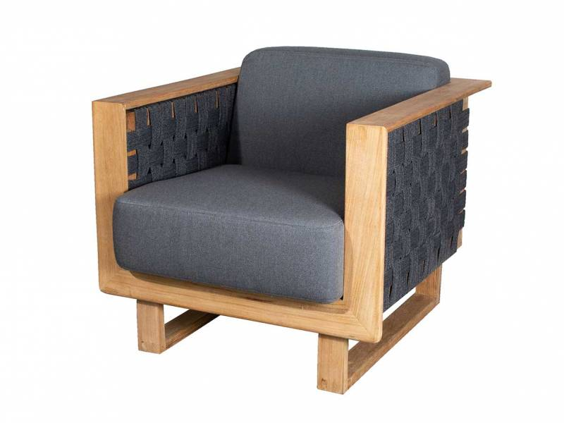 Cane-line Angle Loungesessel m/teak Rahmen, Inkl. grey Cane-line AirTouch Kissen