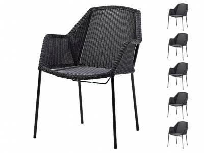 Cane-line Breeze Sessel stapelbar, schwarz - AKTIONS-SET 6 Stück für 5