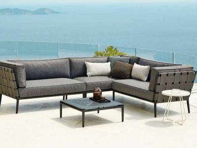 Cane-line Conic 2-Sitzer Sofa-Modul, links, Cane-line AirTouch, Grey