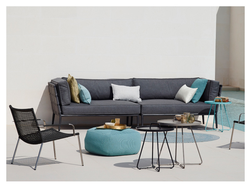 cane line conic softtouch 2 sitzer modulsofa links grau. Black Bedroom Furniture Sets. Home Design Ideas