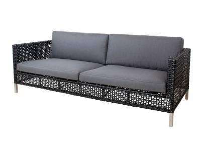 Cane-line CONNECT Lounge 3-Sitzer Sofa, Black/Anthrazit