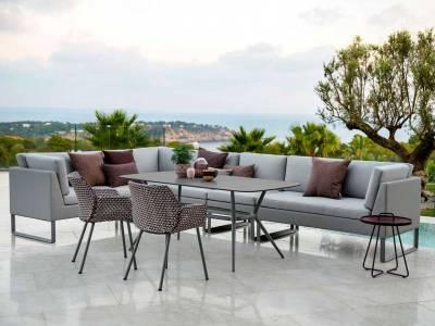 Cane-line Flex 2-Sitzer Sofa rechts, inkl. Kissensatz, Light Grey