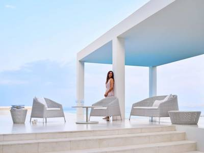 Cane-line Kingston 2 Sitzer Lounge Sofa, Weiß-grau