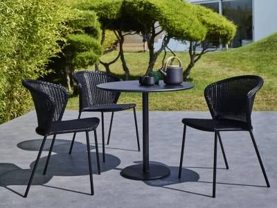 Cane-line LEAN Gartenstuhl schwarz, stapelbar