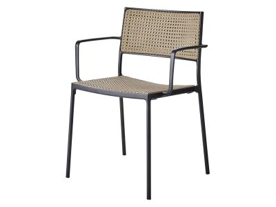 Cane-line LESS Stuhl mit Armlehne Lava-grau, stapelbar