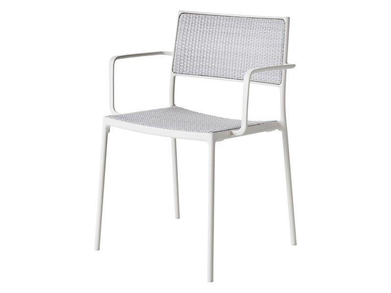 Cane Line Less Stuhl Mit Armlehne Weiss Stapelbar Gartenmobel