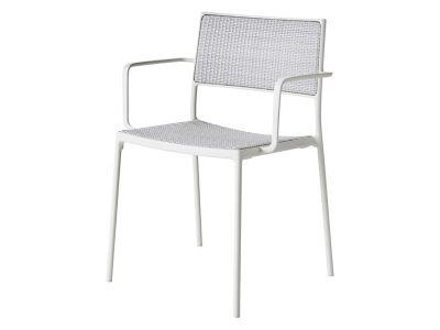 Cane-line LESS Stuhl mit Armlehne Weiß, stapelbar