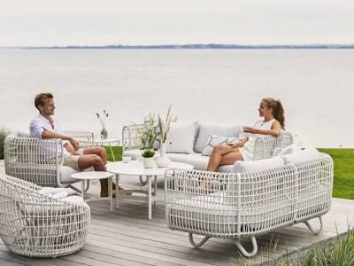 Cane-line Nest 3-Sitzer Sofa OUTDOOR inkl. Cane-line Natté Kissen White
