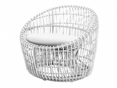 Cane-line Nest Round Sessel OUTDOOR inkl. Cane-line Natté Kissen White