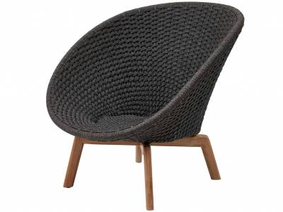 Cane-line Peacock Lounge Sessel m/Teak Beine, Cane-line Soft Rope Grey (5458)