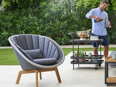 Cane-line Peacock Lounge Sessel m/Teak Beine, Cane-line Weave Grey (5458)