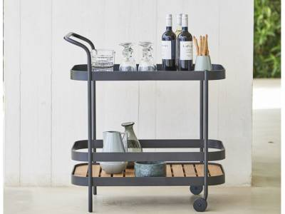 Cane-line ROLL Teewagen, Teakplatte abnehmbar, Lava-grau