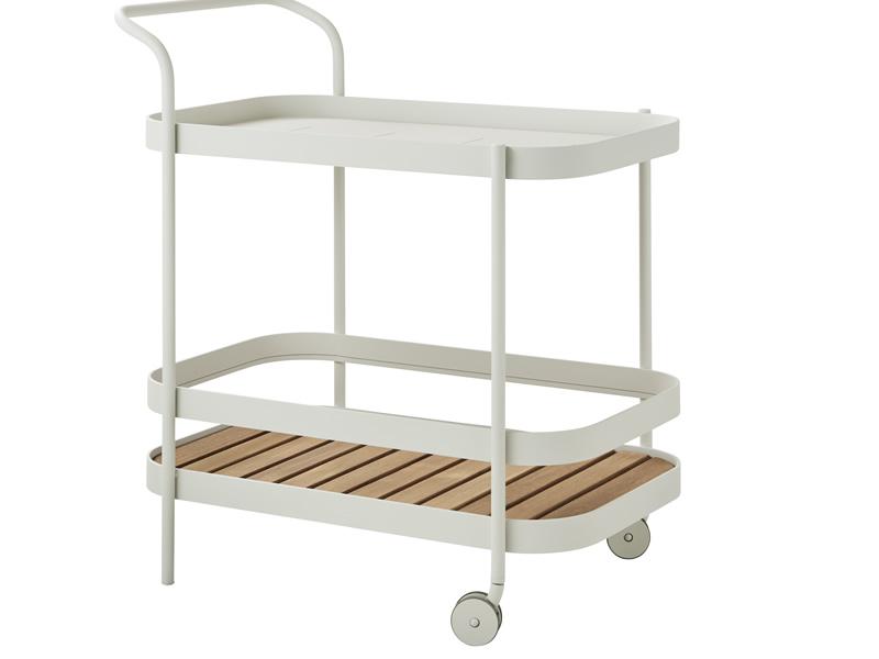 Cane-line ROLL Teewagen, Teakplatte abnehmbar, weiß
