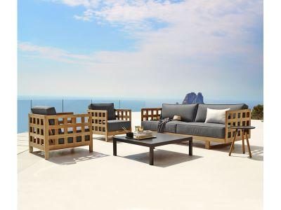 Cane-line Square Sofa inkl. Kissensatz, Grau