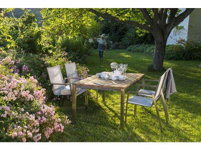 Diamond Garden Barletta Tisch 90 cm, Tischplatte Teakholz