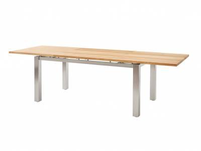 Diamond Garden Levanto Ausziehtisch 3 Planken, 170–270×90 cm, Edelstahl, Recycled Teak Natur