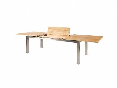 Diamond Garden Levanto Ausziehtisch 3 Planken, 220–320×100 cm, Edelstahl, Recycled Teak Natur