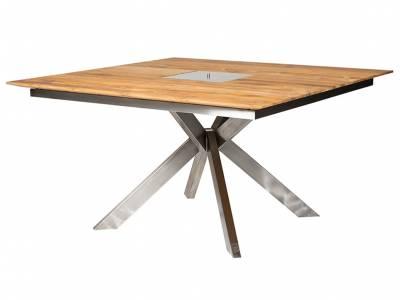 Diamond Garden Lyon Quattro Tisch, Edelstahl, Recycled Teak
