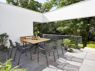 Diamond Garden Lyon Tisch 150 x 150 Fase – 4 Planken Edelstahl
