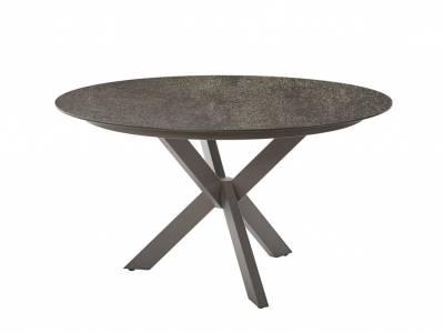 Diamond Garden Lyon Tisch, Ø 138 cm, Edelstahl Dunkelgrau, HPL Anthrazit Titan