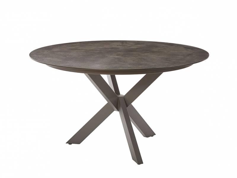 Diamond Garden Lyon Tisch, Ø 138 cm, Edelstahl Dunkelgrau, HPL Granit Dunkel