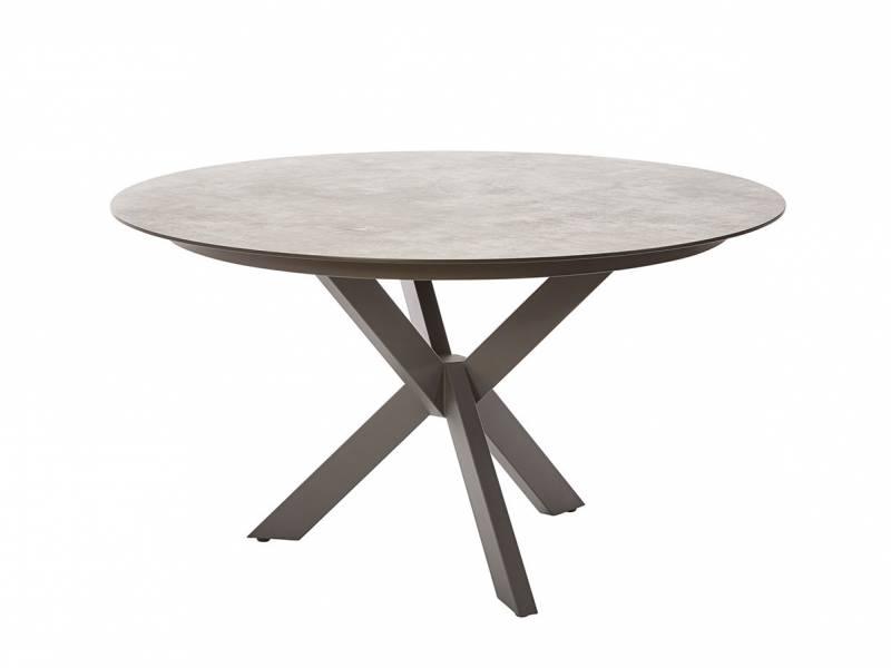 Diamond Garden Lyon Tisch, Ø 138 cm, Edelstahl Dunkelgrau, HPL Granit Hell