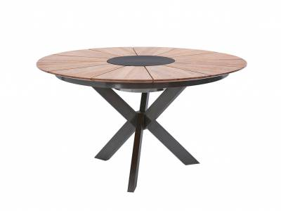 Diamond Garden Lyon Tisch, Ø 140 cm, Edelstahl Dunkelgrau, Recycled Teak