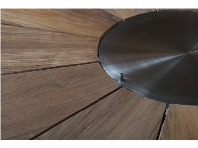 Diamond Garden Lyon Tisch, Ø 140 cm, Edelstahl, Recycled Teak