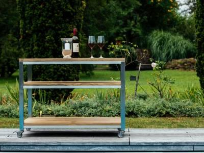Diamond Garden Piazza Beistelltisch, 100×60 cm,  Edelstahl, Recycled Teak