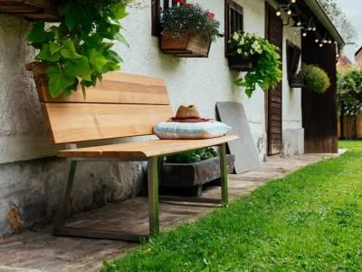 Diamond Garden Pisa Bank 140 cm,  Edelstahl, Recycled Teak