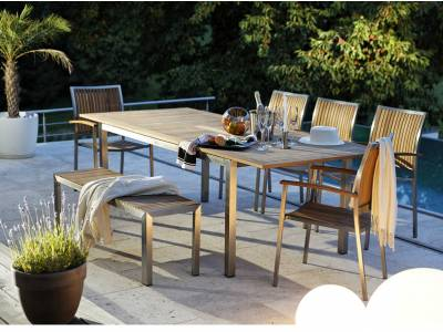 diamond garden roma ausziehtisch 150 200 100 cm edelstahl teak gartenm bel hamburg shop. Black Bedroom Furniture Sets. Home Design Ideas