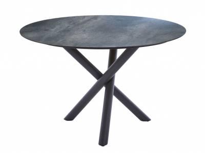 Diamond Garden San Marino Tisch Edelstahl Dunkelgrau, Tischplatte HPL Anthrazit 120 cm Titan