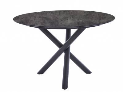 Diamond Garden San Marino Tisch Edelstahl Dunkelgrau, Tischplatte HPL Beton Dunkel 120 cm