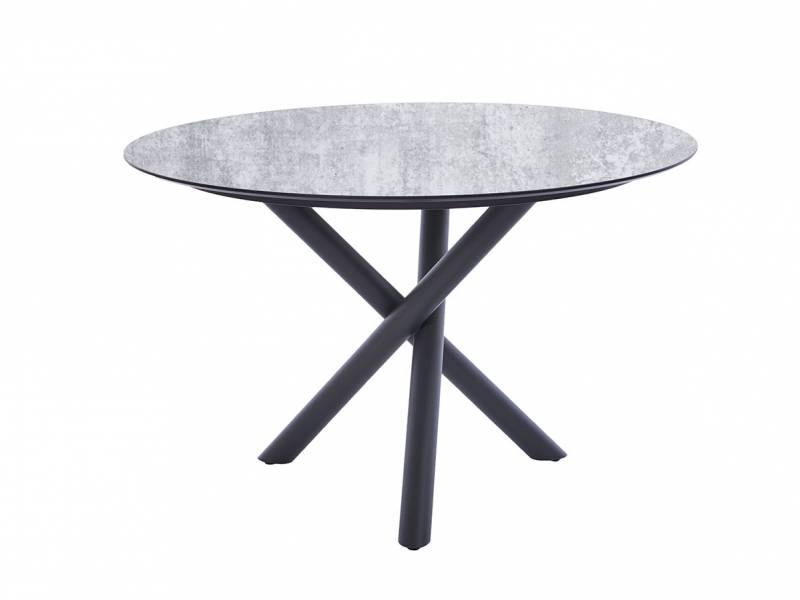 Diamond Garden San Marino Tisch Edelstahl Dunkelgrau, Tischplatte HPL Granit Hell 120 cm