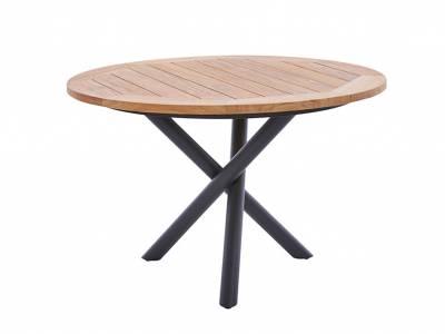 Diamond Garden San Marino Tisch Edelstahl DunkelgraU, Tischplatte Teak Natur 120 cm Belmont