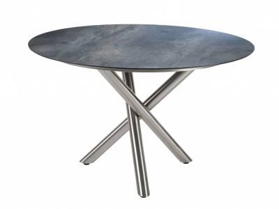Diamond Garden San Marino Tisch Edelstahl, Tischplatte HPL Anthrazit Titan 120 cm