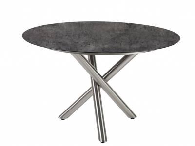 Diamond Garden San Marino Tisch Edelstahl, Tischplatte HPL Beton Dunkel 120 cm