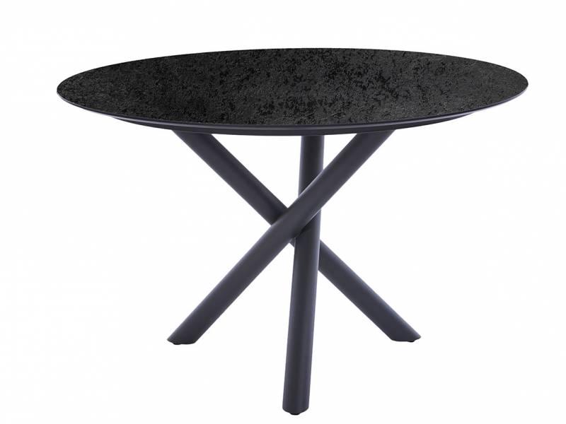Diamond Garden San Marino Tisch Edelstahl, Tischplatte HPL Schiefer 120 cm