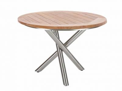 Diamond Garden San Marino Tisch Edelstahl, Tischplatte Teak Natur Belmont 120 cm