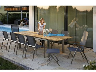 Diamond Garden Venedig Swingstuhl silber/weiß