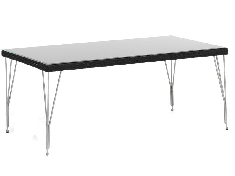 Sika Design AVANTGARDE Jupiter Gartentisch 90x180 cm, inkl. Glasplatte - Schwarz