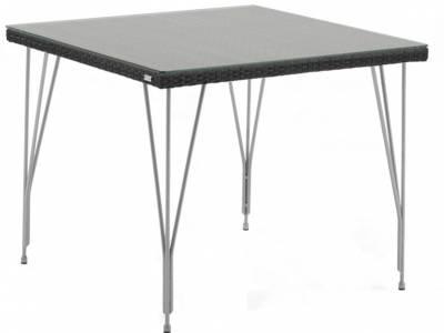 Sika Design AVANTGARDE Jupiter Gartentisch 90x90 cm, inkl. Glasplatte - Schwarz