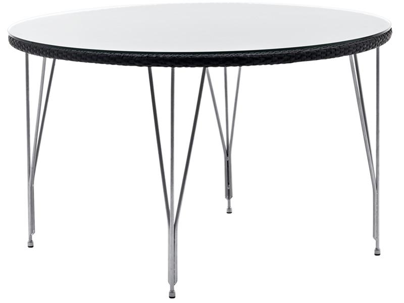 Sika Design AVANTGARDE Jupiter Gartentisch Ø 120 cm, inkl. Glasplatte - Schwarz